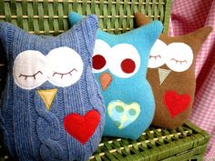 Owl Pillow Plush - Recycled Wool