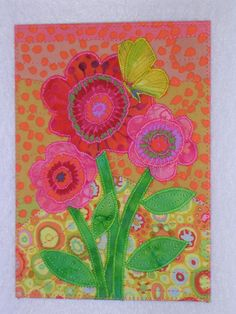 FLOWERS AND BUTTERFLY 5 x 7 Quilt Art Fabric Appliqued Whimsical       Large Postcard