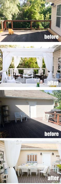 Before and after deck makeover. What was once a unused dumping ground, is now a beautiful and cozy retreat for relaxing and entertaining. Full of DIY's, thrift and antique finds and lovely decor.