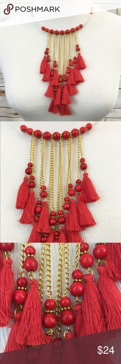 Fringe Necklace, Red Necklace, Beaded Choker Bib Vibrant Red Fringe Necklace. Adjustable to fit all necks. Stunning gold tone chain, red beads and Fringe. Drop on front is 6 1/2 inches. Gift Box Included. Jewelry Necklaces