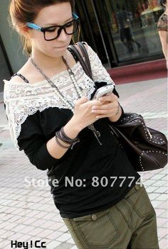 Lace neck on a sweater or thin sweatshirt