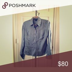 ✂️Ann Taylor 100% Silk Blouse Ann Taylor 100% Silk Long Sleeve Button Down Blouse-Color is Blue/Grey- Gently Used Ann Taylor Tops Blouses