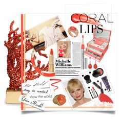 A beauty collage from April 2014 featuring benefit makeup, hydrating lipstick and trish mcevoy makeup. Coral Lips, Benefit Makeup, Michelle Williams, Hourglass, Polyvore, Bags, Cosmetics, Beauty, Women