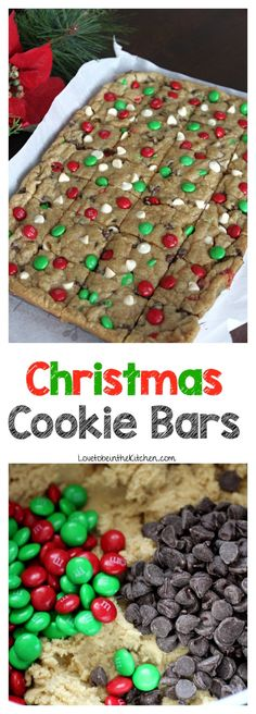 Soft and chewy chocolate chip cookie bars topped with white chocolate chips and Christmas M&M's to make a festive and tasty treat! This is an easy one-bowl recipe! snacks Christmas Cookie Bars - Love to be in the Kitchen Christmas Snacks, Christmas Cooking, Christmas Christmas, Easy To Make Christmas Treats, Christmas Deserts Easy, Holiday Recipes, Christmas Parties, Christmas Recipes, White Chocolate