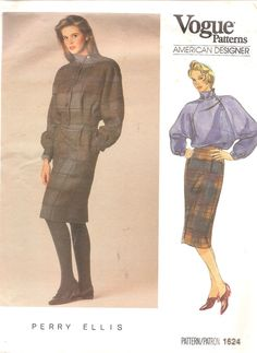 Vintage Sewing Pattern Vogue 1624 1980s Jacket Skirt by TenderLane, $12.00