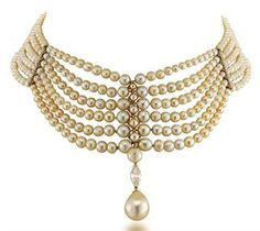 NATURAL PEARL AND DIAMOND CHOKER NECKLACE : The necklace composed of six strands of graduated natural round pearls joined by pearl-set bar terminals, centring upon a marquise-cut diamond and drop-shaped pearl pendant measuring 12.05mm x 15.30mm with millegrain-set diamond clasp of geometric design, 37.0cm long. Swiss Gemmological Institute stating that the pearls are natural, saltwater.