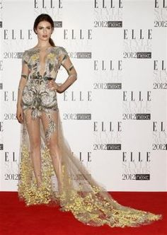 Tali Lennox poses for photographers as she arrives for the Elle Style Awards in London February 13, 2012.  REUTERS/Stefan Wermuth