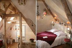 Combles romantiques dans un vieux manoir breton rénové (Côtes-d'Armor, Bretagne)
