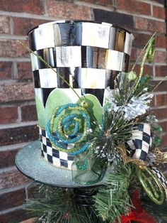 Mad Hatter Top Hat Christmas Tree Topper Mackenzie Childs Inspired
