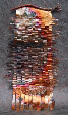 """Stunning woven hanging decoration by Donna Sakamoto Crispin. Fluidity and a little bit of cubism"" Would love to have a piece like this as outdoor garden art! Paper Weaving, Weaving Textiles, Weaving Art, Art Environnemental, 3d Art, Weaving Projects, Art Projects, Art Du Fil, Copper Art"
