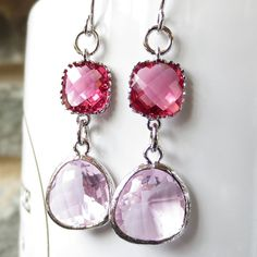Sparkle Drop - Dangle Drop Silver Earrings, Dangle,Ruby cubic zirconia with pink glass - Glass Earrings, bridesmaid gifts,Wedding jewelry