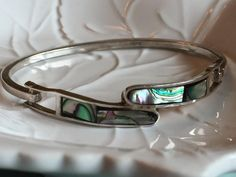 Vintage Sterling Silver Abalone  Bracelet Made in Mexico Stamped 925 Hinged Closure Bangle Bracelet Collectible Birthday Gift Gal Gift NICE! by Samanthasunshineshop on Etsy