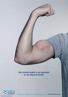 Healthier Scotland: Our mental health is as important as our physical health. Agreed. However, this man has a separate problem: A bizarre skin disease on his bicep. #marketing #advertising