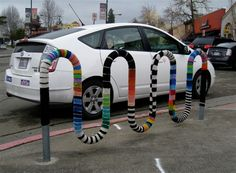 Bike rack yarnbombed