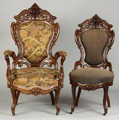 """J & JW Meeks """"Stanton Hall"""" pattern armchairs."""