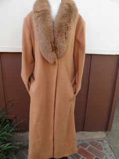 Vtg Coat - J. Percy Warm Wool Winter Trench Coat With Fox Fur Collar Med/Large in Clothing, Shoes & Accessories | eBay
