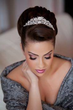 Hairlook Hairstyles Elegant updo with a tiara topping Prom Hairstyles For Long Hair, Elegant Hairstyles, Formal Hairstyles, Bride Hairstyles, Bridesmaid Hairstyles, Party Hairstyles, Wedding Hair And Makeup, Bridal Hair, Hair Makeup
