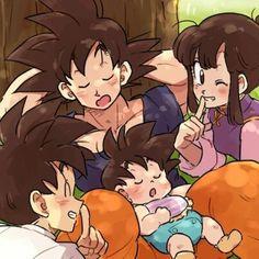 Awwww! Chichi, Gohan, and a sleeping Goku and baby Goten! So much cute!