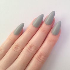 Matte Grey Stiletto nails, Nail designs, Nail art, Nails, Stiletto nails, Acrylic nails, Pointy nails, Fake nails