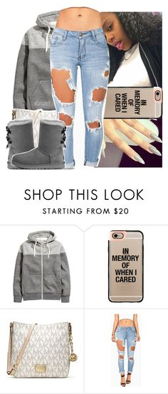 """love this weather😭😍"" by lamamig ❤ liked on Polyvore featuring H&M, Casetify, MICHAEL Michael Kors and UGG Australia"