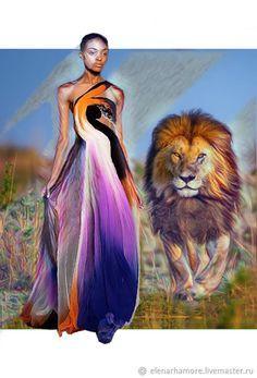 """Платье шёлк шифон """"Back to Africa"""" – купить в интернет-магазине на Ярмарке Мастеров с доставкой"""
