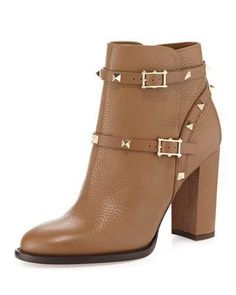 Leather High Heel Boots, Chunky Heel Ankle Boots, Slip On Boots, Chunky Heels, Women's Boots, Ankle Booties, Valentino Rockstud Shoes, Valentino Boots, Thing 1