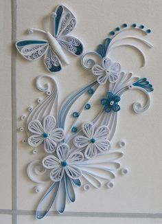 neli: Quilling card - flowers