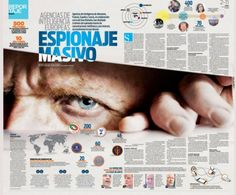 Massive Espionage #Newspaper #layout #design  This layout is very intriguing for the reader, with the sense that the person pictured is peering through the page and staring at the reader.