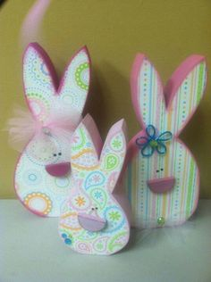 wood craft Easter Bunny decoupage