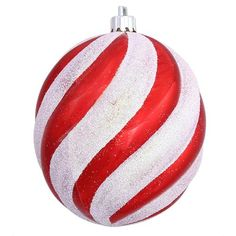 "Peppermint Twist Candy Cane Spiral Shatterproof Oval Ball Ornament 4"""""