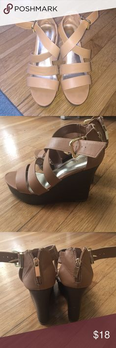 Express wedges, sz 7, good condition!! Worn a handful of time, not quite my style. Express Shoes Wedges