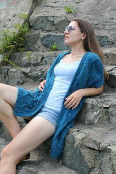 Купить Кардиган крупной вязкой с косами - вязаный кардиган, ручное вязание, крупная вязка