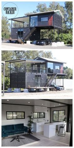Container Homes Australia, Sea Container Homes, Container House Plans, Shipping Container Homes, Container Shop, Shipping Containers, Container Home Designs, Modern Tiny House, Tiny House Cabin