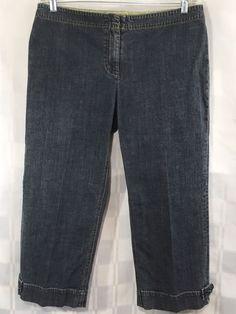 Womens CAbi Capri Jeans 12 Cuffed Capris Medium Wash Flat Front Cotton Stretch #CAbi #CapriCropped