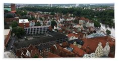 """Roofs Of Luebeck Towel (Bath Towel (32"""" x 64"""")) by Marina Usmanskaya.  Our towels are great.  The ancient Hanseatic city Luebeck in the north of Germany from a bird's eye view."""