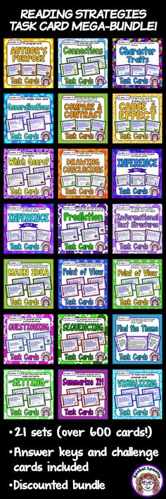 Reading Strategies Task Card Bundle 648 reading skills cards Grab this money-saving bundle of reading strategy task cards! More than 600 cards covering a variety of standards. Inference, Main Idea, Summarizing, Finding the Theme, and so much more! Reading Lessons, Reading Strategies, Reading Skills, Teaching Reading, Guided Reading, Reading Comprehension, Close Reading, Comprehension Strategies, Writing Resources