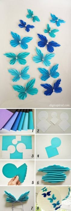 Diy Paper Accordion Butterflies - 10 Easy Paper DIYs to Soothe Your Crafting Needs Paper Crafts Origami, Diy Paper, Paper Art, Paper Butterfly Crafts, Origami Butterfly, Diy Butterfly Decorations, Diy Party Decorations, Paper Butterflies, Paper Flowers