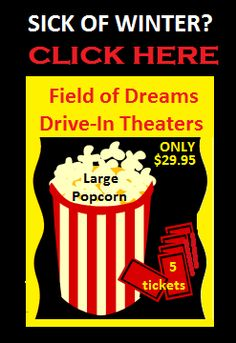 Sick of this winter?  THINK SPRING!  Buy 5 tickets & 1 large popcorn for only $29.95 - valid for any regular event in 2014!  Offer valid through Super Bowl Sunday only!