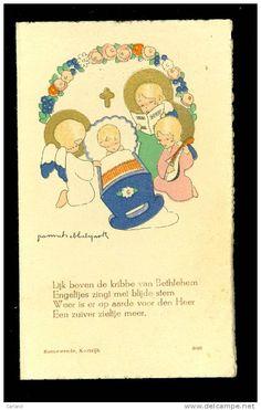 Geboortekaartje ( 121 ) illustrateur : Jeanne Hebbelynck - naissance geboorte Emmanuël  1943  Wervik