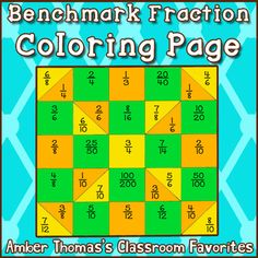 FREE coloring page to help kids practice using 1/2 as a benchmark fraction to compare and order #fractions.  Makes a nice quilt-like display, too.