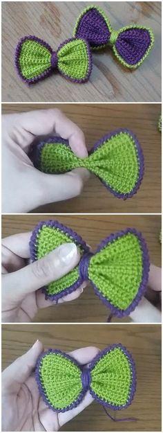Crochet Headband How To Crochet A Simple Bow Crochet Bows Free Pattern, Crochet Jewelry Patterns, Crochet Flower Patterns, Crochet Accessories, Crochet Designs, Crochet Flowers, Free Crochet, Knitting Patterns, Crochet Hair Bows