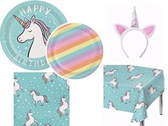 Spritz Unicorn Ultimate Party Bundles Including Plates Napkins Tablecover And Headband For 16