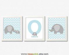 Azul y gris elefante vivero lámina - 8 x 10 UNFRAMED-boy pared arte niños imprimir, elefante, monograma, iniciales, nombre de bebé, chevron