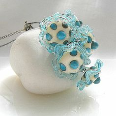 Artisan Lampwork Necklace with Oxidized Sterling Silver [dots ...