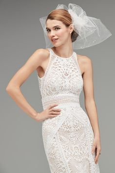 Watters - Wedding Dress - Vendela Alternating placement of Coquille lace and Striped Venice lace sculpt the elegant figure of Vendela. The style flatters further with a banded Empire waistline, A-line skirt and open, halter back. Luxury Wedding Dress, Wedding Dress Sizes, Fall Wedding Dresses, Wedding Gowns, Nordstrom Dresses, Dream Dress, Bridal Gowns, Empire, Brides