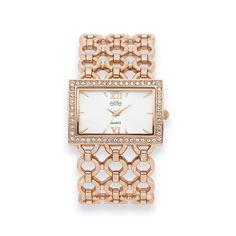 Elite Ladies Rose Tone Watch Square Watch, Gemstone Jewelry, Bracelet Watch, Quartz, Jewels, Gemstones, Watches, Rose, Lady