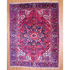 Persian Hand-knotted Heriz Red/ Black Wool Rug (9'9 x 12'8) - Overstock™ Shopping - Great Deals on 7x9 - 10x14 Rugs