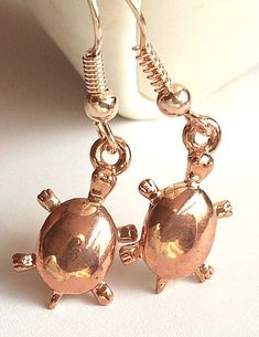 Rose Gold Sea Life Turtle Earrings Plated Island Beach Nautical USA Seller #Unbranded #DropDangle