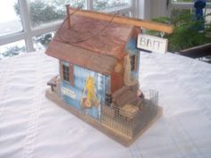VINTAGE M.L. STUDTMAN RARE ORIGINAL BAIT SHOP & BOAT RENTAL BIRD HOUSE