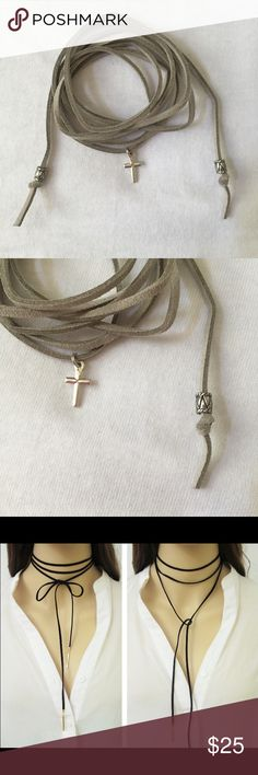 "✨SALE✨ Light gray tie choker with cross pendant Light gray high quality suede tie choker with cross pendant. Approx 52"" long. Ties with bead at ends. Third pic shows style idea. First two pics show actual choker. Jewelry Necklaces"
